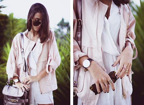 jacket blouson jacket chiffon playsuit bag shoulder swag jacket swag white romper pastel jacket pastel bag ring streetstyle stylemoi accessories