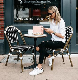 fashionjackson blogger shirt jeans shoes bag sunglasses pink bag white shirt sneakers black jeans