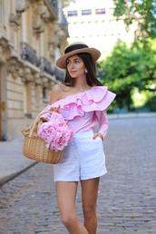 hat,ruffled top,tumblr,sun hat,top,pink top,one shoulder,ruffle,shorts,white shorts,bag,basket bag