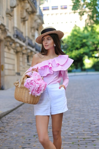 hat ruffled top tumblr sun hat top pink top one shoulder ruffle shorts white shorts bag basket bag