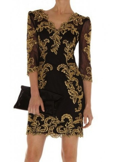 PriveClothing.com 'ESMERLDA' BLACK AND GOLD EMBROIDERY LONG SLEEVE DRESS