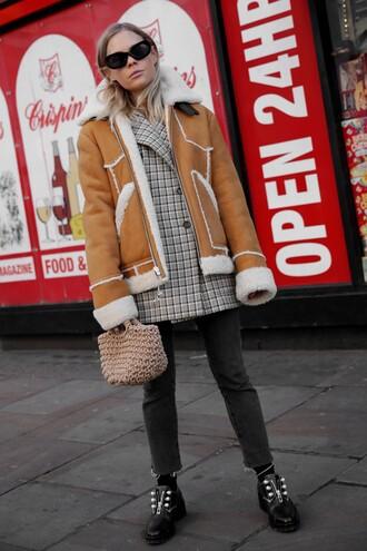 jacket tumblr shearling jacket blazer bag sunglasses black sunglasses shoes brown coat handbag jeans