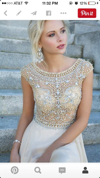 dress white and gold dress with gems