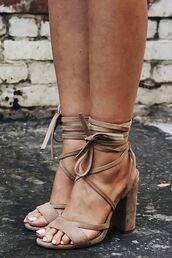 shoes,beige,neutral,strappy heels,sandal heels,thick heel,nude heels,taupe,block heels,lace up heels