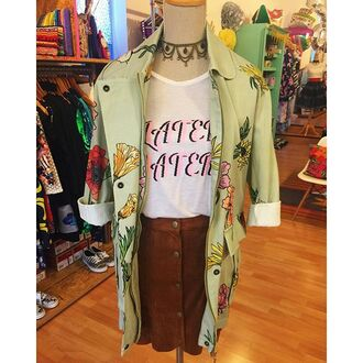 jacket yeah bunny fall outfits cute 36683 mint flower flowers floral print jacket