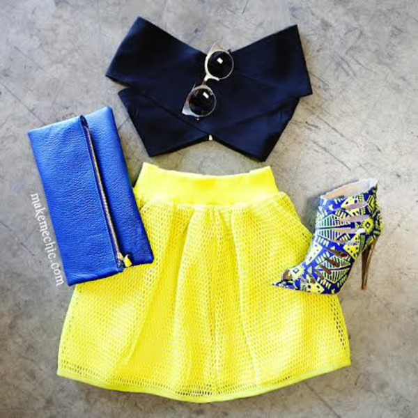 shoes clutch skirt crop tops shirt
