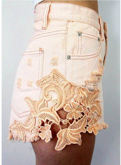 lace shorts denim shorts peach floral shorts