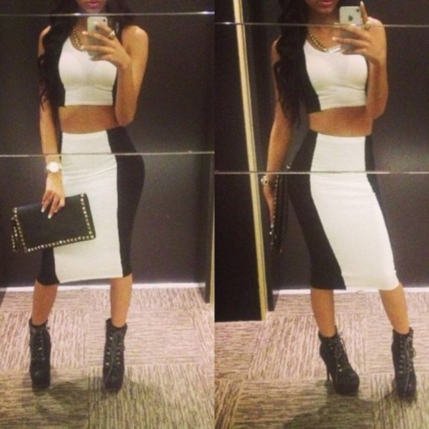 Black White Pencil Skirt