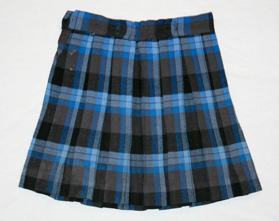 1950s Blue Plaid Girl's Pleated Skirt - Girls Size 8 - Short Skirt - Back to School - Liliputian Bazaar Label - Waist 23 - 42029