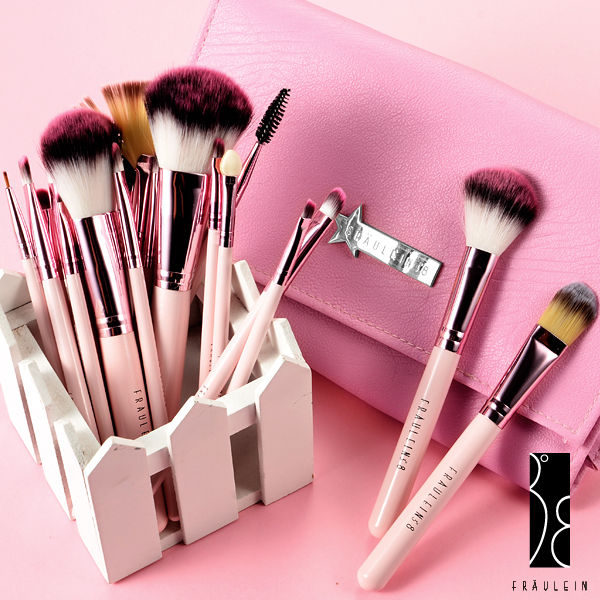 Fräulein3°8 20 x Professional Make-up Brushes Set Pink Swan Case Makeup Brush