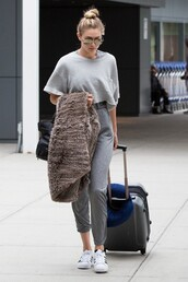 jumpsuit,top,sunglasses,gigi hadid,sneakers,shoes,jeans,shirt,grey,baggy,large,comfy,model,fashion,pretty