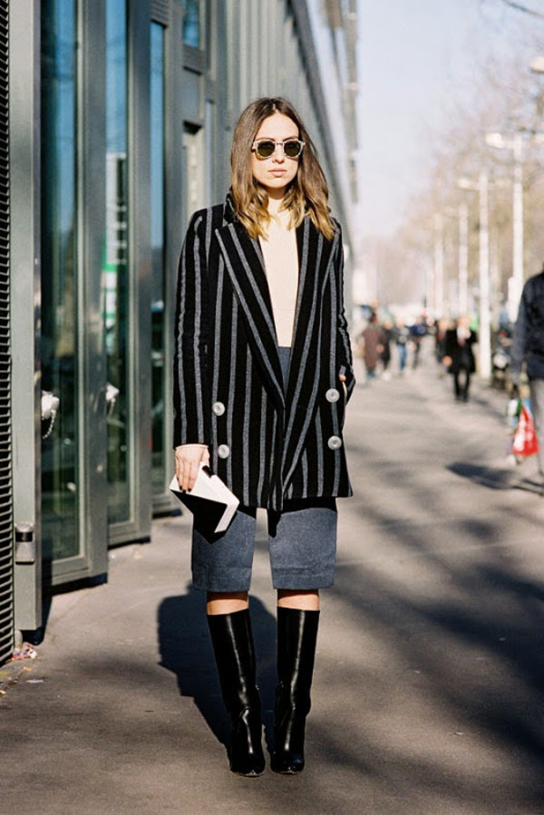 vanessa jackman skirt shoes striped coat