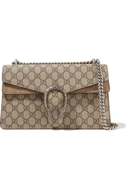 gucci bag shoulder bag suede beige