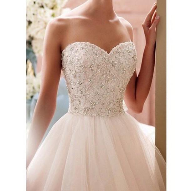 dress white glitter volume white prom dress