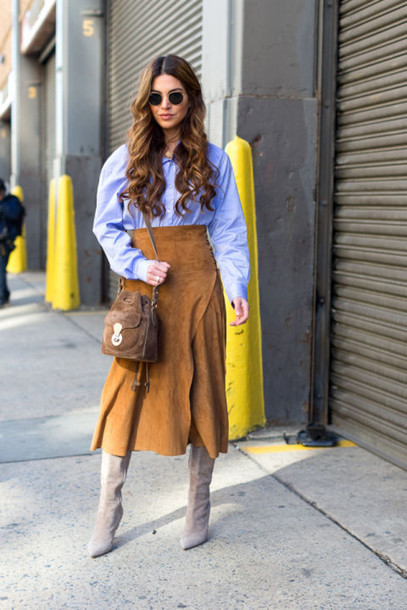 skirt, midi skirt, suede, suede skirt, fashion week 2016 ...
