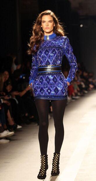 dress runway model boots mini dress alessandra ambrosio sandals h&m balmain blue dress embroidered dress