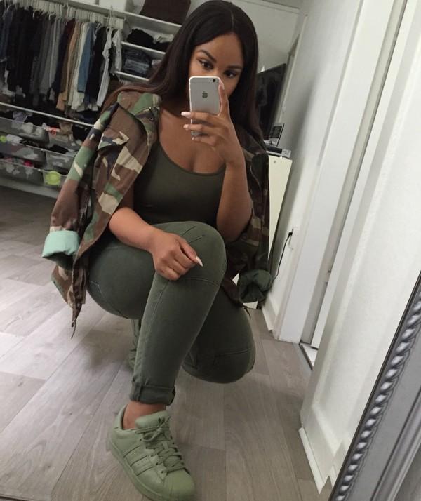 Jacket Green Camouflage Sherlinanym Black Girls Killin
