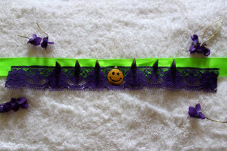 jewels choker necklace smiley spiked choker neon neon green harajuku