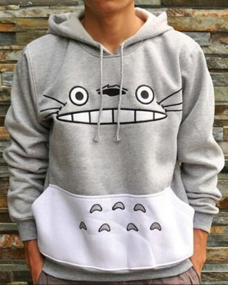 grey anime cool cute kawaii fashion style totoro hoodie