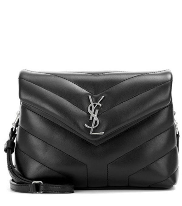 Saint Laurent Monogram Strap leather shoulder bag in black
