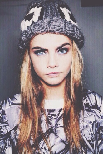 shirt top cara delevingne knitted beanie hat