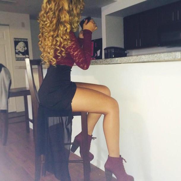 booties see through high low skirt mini skirt burgundy burgundy shoes