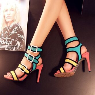 shoes fsjshoes high heels heels straps strappy heels