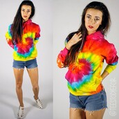 sweater,tees to dye for,tie dye,jumper,hoodie,tie dye sweater,tie dye hoodie,tie dye pullover,pillover,pullover,summer,indie,hipster,grunge,boho,bohemian,boho grunge,summer outfits,outfit,rainbow,top,tie dye top