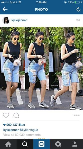 shorts kylie jenner jeans kylie jenner denim cut off pants s yeezy sunglasses summer dope