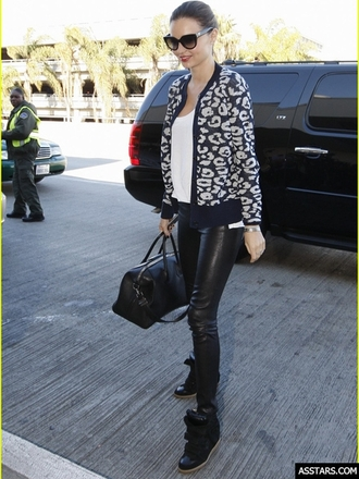 shoes miranda kerr sneakers black cow leather faux leather velcro straps upper high top hidden wedges sneakers assim