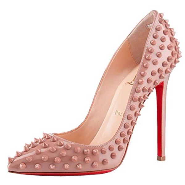 shoes red sole studded heels studs nude heels white red