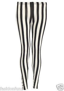 NEW WOMENS VERTICAL STRIPE VISCOSE JERESEY LEGGINGS TROUSERS PANTS / 8-14 | eBay