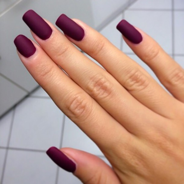 matte, purple, dark, purple nails, cute nails, matte nail polish, nail ...