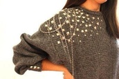 sweater,studded,studs,oversized sweater,chain detail,jumper