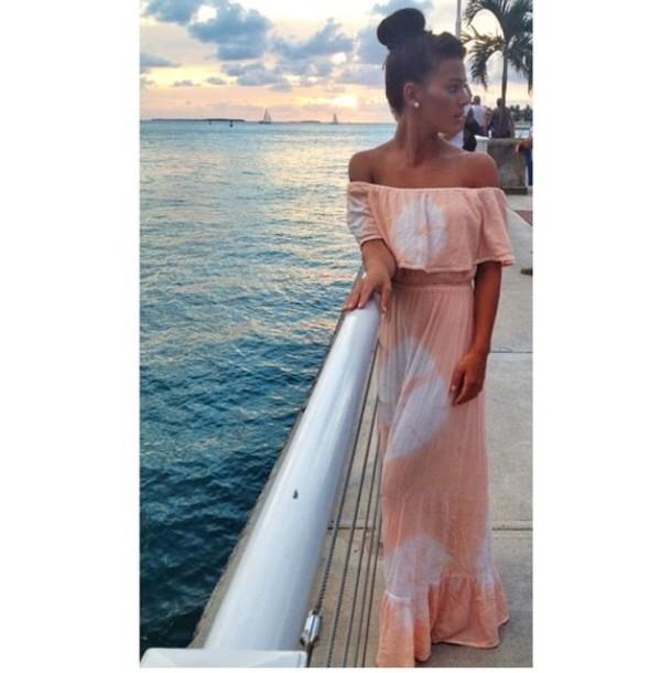 dress white and orange beach dress