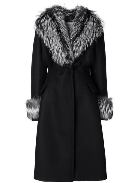 Prada coat fur fox women black wool