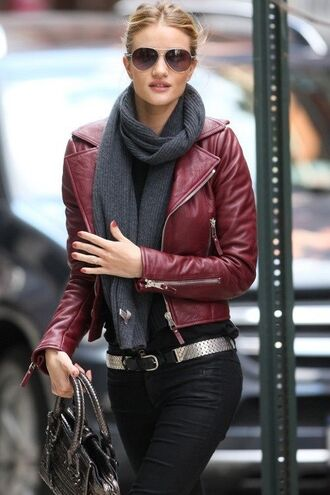 jacket leather jacket leather bordeaux purple wine red scarf