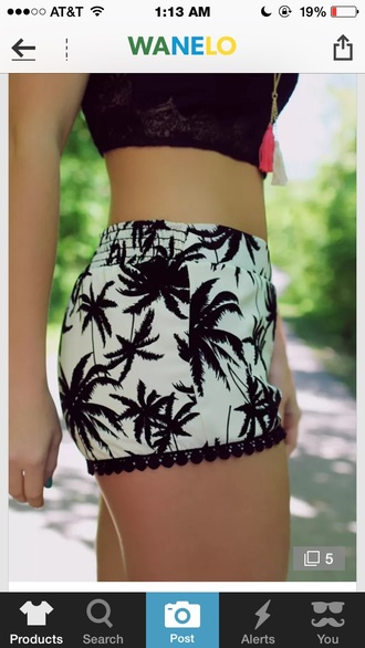 shorts romper style fashion black white palm tree print