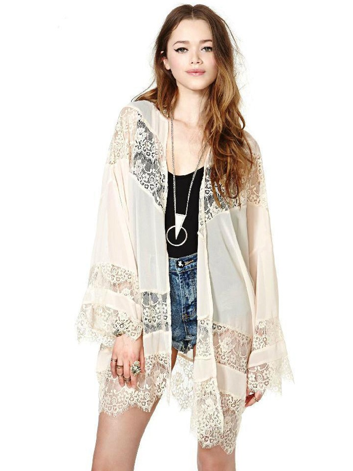 Slim Fashion Long-Sleeved Beige Lace Crochet Openwork Stitching ...