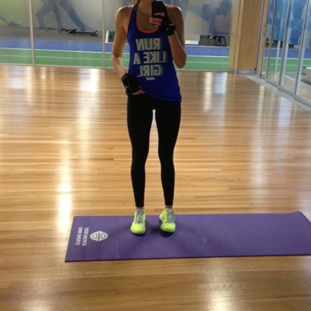 tank top run like girl running women sportswear blue clothes shirt workout workout