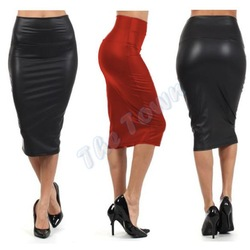 Online Shop NEW 2014 Autumn High-waist Faux Leather Pencil Skirt Black Leather skirt M/L High Quality Casual High Waisted skirt #2 SV00249|Aliexpress Mobile