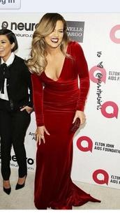 dress,khloe kardashian,red velvet