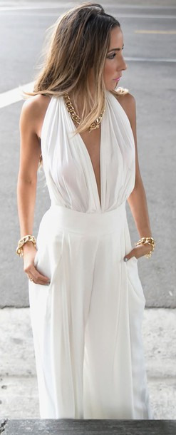 Jumpsuit: white jumpsuit, backless, white backless, white ...