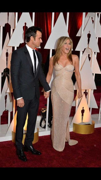 dress jennifer aniston oscar dress oscars 2015
