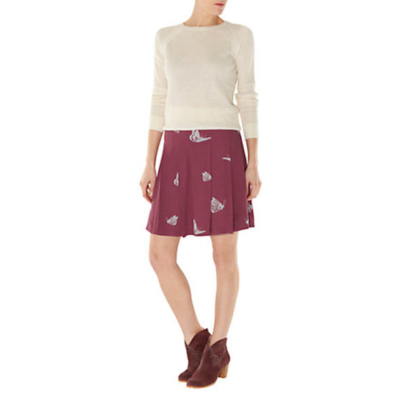 skirt mini skirt nw3 by hobbs butterfly skirt hobbs cranberry purple