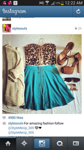 skirt,turquoise skater skirt,turquoise,skater skirt,sweater,high heels,crop tops,animal print,bustier crop top