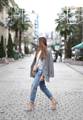 b a r t a b a c blogger bag sunglasses pointed toe grey coat ripped jeans