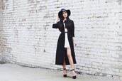 lolita mas,blogger,belt,black and white,trench coat,white dress,platform high heels