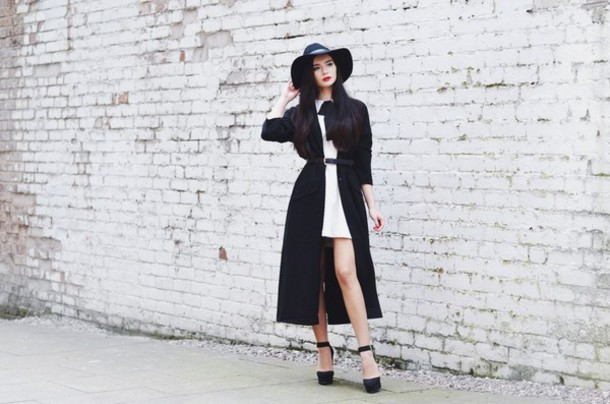lolita mas blogger belt black and white trench coat white dress platform high heels
