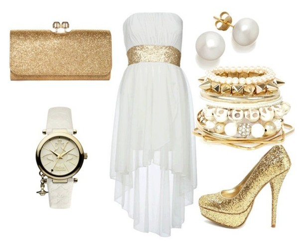 dress white gold hi-low strapless white dress gold sequins hi low dress jewels bag shoes
